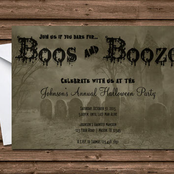 Halloween Invitation - Graveyard Haunted House Party - Boos and Booze - Adult Halloween Party Invitations - Scary - ghost