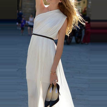 Double Layered One Shoulder Chiffon Maxi Dress