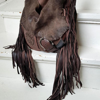 Mix of brown leather bag hobo tribal african bohemian boho festival  purse sweet smoke free people distressed bag moroccan cowhide