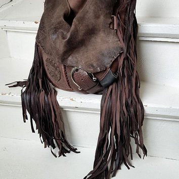 dc082b8457e Mix of brown leather bag hobo tribal african bohemian boho festival purse  sweet smoke free people