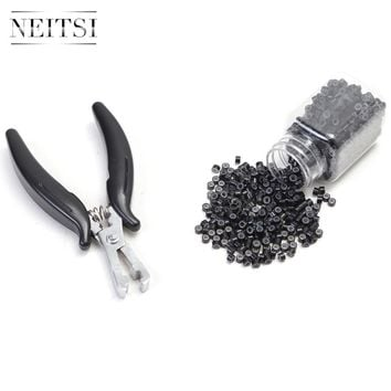 Neitsi Pliers and 500 Beads Silicone Micro Rings For Hair Extensions