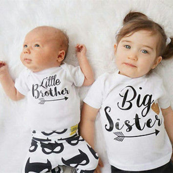 New Brand Family Matching Outfits Baby Boys Romper Little Boy Bodysuit Big Sister T-shirt Summer Kid clothing ,white 3M-6T