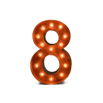 "12"" Number 8 (Eight) Sign Vintage Marquee Lights"