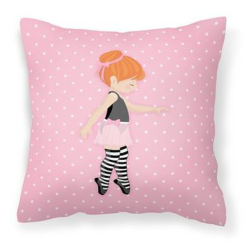 Ballerina Red Head Releve Fabric Decorative Pillow BB5168PW1414