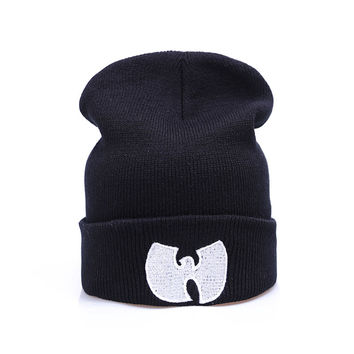 Wu Tang Clang Beanie Fashion Winter Warm Casual Knitted Mens & Womens Black Cuffed Skully Hat