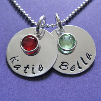 """Double Hand-stamped Birthstone Name Necklace in Sterling Silver 3/4"""" with Swarovski Birthstone  - great for moms or grandmas"""