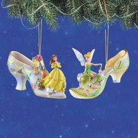 Disney's Once Upon A Slipper Belle and Tinker Bell Figurine Shoe Ornaments Set of 2