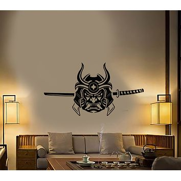 Vinyl Wall Decal Japanese Asian Warrior Mask Sword Stickers (3449ig)