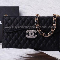 Black color bag card wallet case cover with Chain Handbag iPhone 4/4s case iPhone 5/5s case Samsung Galaxy S3/S4 case Samsung Note Case