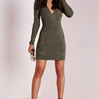 Missguided - Faux Suede Lace Up Detail Bodycon Dress Khaki