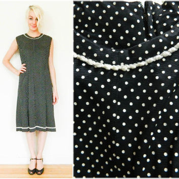 60s vintage dress / Polka dot dress / Mod dress / Black and white / Shift dress / size medium M