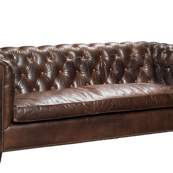 "Barclay Butera, Esquire 84"" Tufted Leather Sofa, Java, Sofas & Loveseats"