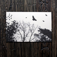 Blank Card Tree Bird Silhouette 4