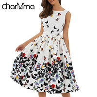 CharMma Plus  Floral Print Summer Midi Dress   O Neck Sleeveless Sash Party Dresses Elegant Pleated Beach Bow Dress