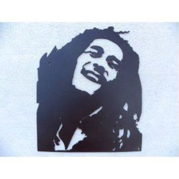 Bob Marley Silhouette Sign Black Metal Wall Art Home Decor