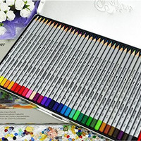 EagleForce™ Fine Art 24/36/48 Color Professional High Quality Drawing Watercolor Water Soluble Non-toxic Set Drawing Polychromes Colored Pencils for Artist Sketch-Set In Metal Tin (36-color)