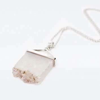 Crystal Slice Pendant Necklace in Silver - Urban Outfitters