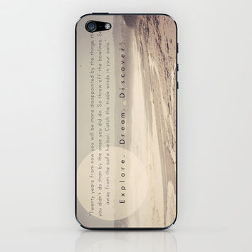 """Explore. Dream. Discover"" ~ Photography Quote Inspiration Beach  iPhone & iPod Skin by Natalie French - Shabby Studios 