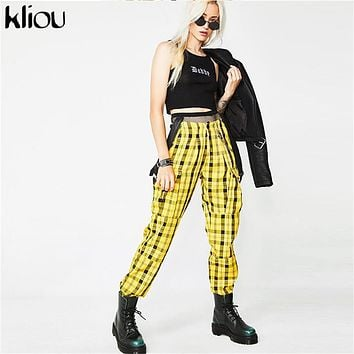 Kliou 2018 new yellow plaid overalls pants women fashion street high waist zipper fly adjustable strap female workout trousers