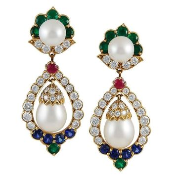 1960s Van Cleef & Arpels Pearl Multi Gem Gold Earrings