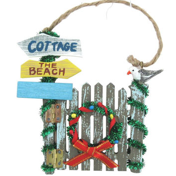 Beach Themed Christmas Gate Ornament with Wreath and Seagull
