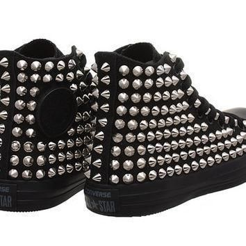 studded converse converse all black high top with silver cone studs by customduo on e