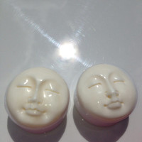 """1"""" Man in the moon face You pick plug size 5/8"""" or 1"""" Hand carved bone face only one set left 2 pair of the smaller size left 1/2"""" or 9/16"""""""