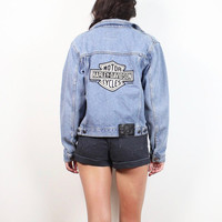 Vintage 90s Harley Davidson Denim Jacket Blue Jean Jacket Light Wash Denim Faded Motorcycle Biker Patch Boxy 1990s Boyfriend Coat XS S Small