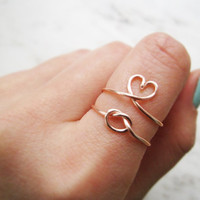 love knot ring set, heart ring, adjustable love knot ring, rose gold ring set, rose gold knot ring, knot ring, love ring,heart ring set,gift