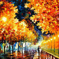 "Gold Boulevard — Oil Painting On Canvas By Leonid Afremov.  Size: 40""x30"""