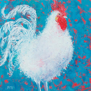 Rooster art painting, kitchen wall art, decor, animal art, country home decor, shabby chic art, country cottage art, Etsy art, Matson.