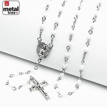 "Jewelry Kay style Rosary Silver White Bead Guadalupe Jesus Cross 25"" Necklace HR 700 SWH"