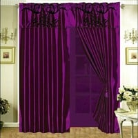 3-Layer Modern Black Purple Flock Satin Curtain Set with attached valance and sheer back