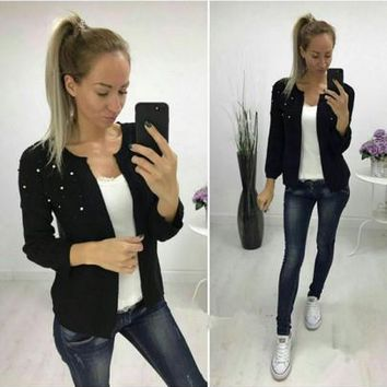 New Women Black Pearl Long Sleeve Casual Acrylic Cardigan Sweater