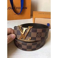 LV tide brand men and women classic logo smooth buckle belt