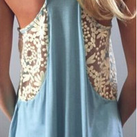 Blue Lace Patchwork Cami
