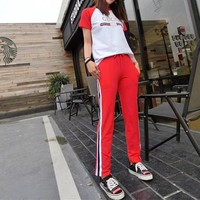 """Gucci"" Women Casual Fashion Letter Pattern Print Short Sleeve Trousers Set Two-Piece Sportswear"