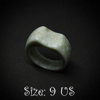 Size 9 US, Green ring, Wave ring, Green jewelry, Ring, Green stone ring, Corian ring, Modern ring, Fashion ring, Engagement ring, Ring women