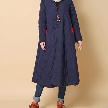 Winter warm loose padded long Overcoat/ dark blue/ red