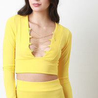 Crepe Chain Lace Up Crop Top