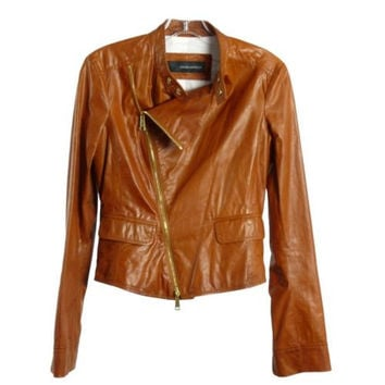 DSQUARED2 Rust Brown Lambskin Leather Zip Front Jacket Moto Size IT 40 US 2 4
