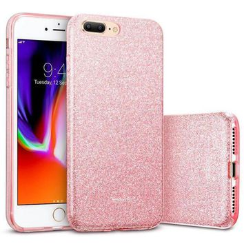 Iphone 8 Plus Case Iphone 7 Plus Case Esr Glitter Sparkle Bling Case [three Layer] [supports Wireless Charging] For Apple 5.5' Iphone 8 Plus/7 Plus(rose Gold)