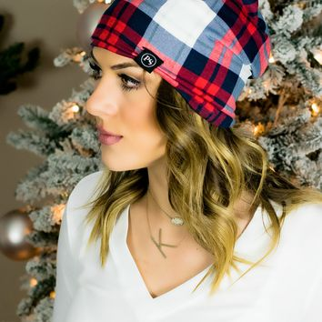 Peek a Boo Beanie- Red/Blue Plaid
