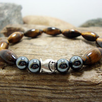FREE SHIPPING - Men bracelet, Men's beaded bracelet, beaded bracelet, gemstone men bracelet, Amethyst,tiger eye Gemstone charm Bracelet