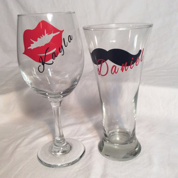 Bridal party gift personalized  wine glasses and pilsner beer glass bridesmaid and groomsmen gifts