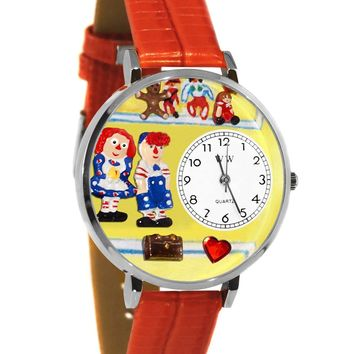 Raggedy Ann & Andy Navy Blue Leather And Silvertone Watch