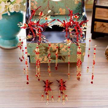 Chinese bride headdress costume hairclips red butterfly hairpin wedding hairwear and earrings photography accessories hongying
