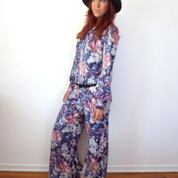 70's Floral Watercolor Bell Bottom Jumpsuit