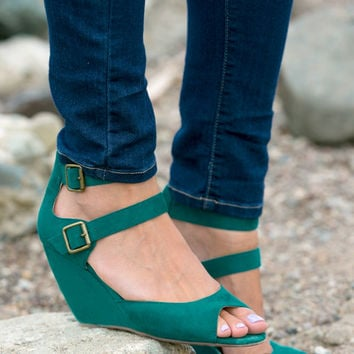 BC Footwear: Teal For Two Peep Toe Wedge