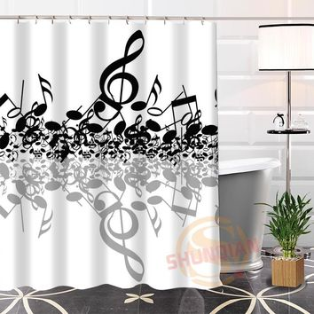 100% Polyester Custom musical note Shower Curtain Fabric Modern bathroom Waterproof New arrival Curtain